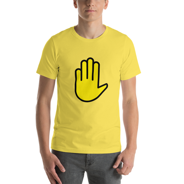 Emoji T-Shirt Store | Raised Hand emoji t-shirt in Yellow