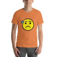 Emoji T-Shirt Store | Anxious Face With Sweat emoji t-shirt in Orange
