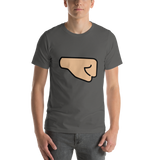Emoji T-Shirt Store | Right Facing Fist, Medium Light Skin Tone emoji t-shirt in Dark gray