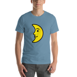 Emoji T-Shirt Store | First Quarter Moon Face emoji t-shirt in Blue