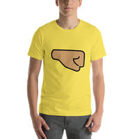 Emoji T-Shirt Store | Right Facing Fist, Medium Skin Tone emoji t-shirt in Yellow
