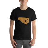 Emoji T-Shirt Store | Right Facing Fist, Medium Dark Skin Tone emoji t-shirt in Black