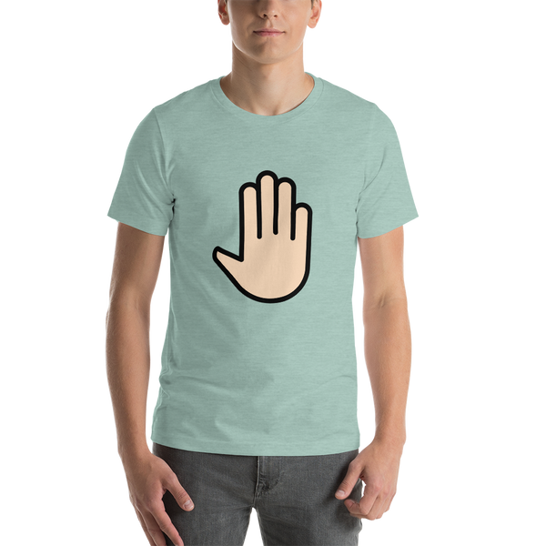 Emoji T-Shirt Store | Raised Back Of Hand, Light Skin Tone emoji t-shirt in Green
