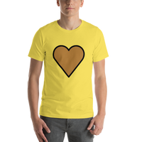 Emoji T-Shirt Store | Brown Heart emoji t-shirt in Yellow