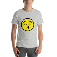 Emoji T-Shirt Store | Kissing Face With Closed Eyes emoji t-shirt in Light gray