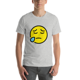 Emoji T-Shirt Store | Sad But Relieved Face emoji t-shirt in Light gray