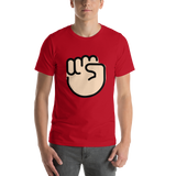 Emoji T-Shirt Store | Raised Fist, Light Skin Tone emoji t-shirt in Red