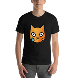 Emoji T-Shirt Store | Crying Cat emoji t-shirt in Black