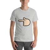 Emoji T-Shirt Store | Backhand Index Pointing Left, Light Skin Tone emoji t-shirt in Light gray
