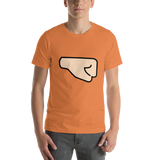 Emoji T-Shirt Store | Right Facing Fist, Light Skin Tone emoji t-shirt in Orange