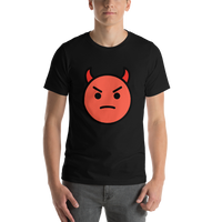 Emoji T-Shirt Store | Angry Face With Horns emoji t-shirt in Black
