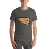 Emoji T-Shirt Store | Right Facing Fist, Medium Skin Tone emoji t-shirt in Dark gray