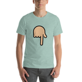 Emoji T-Shirt Store | Backhand Index Pointing Down, Medium Light Skin Tone emoji t-shirt in Green