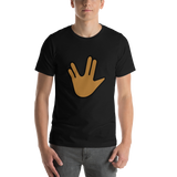 Emoji T-Shirt Store | Vulcan Salute, Medium Dark Skin Tone emoji t-shirt in Black