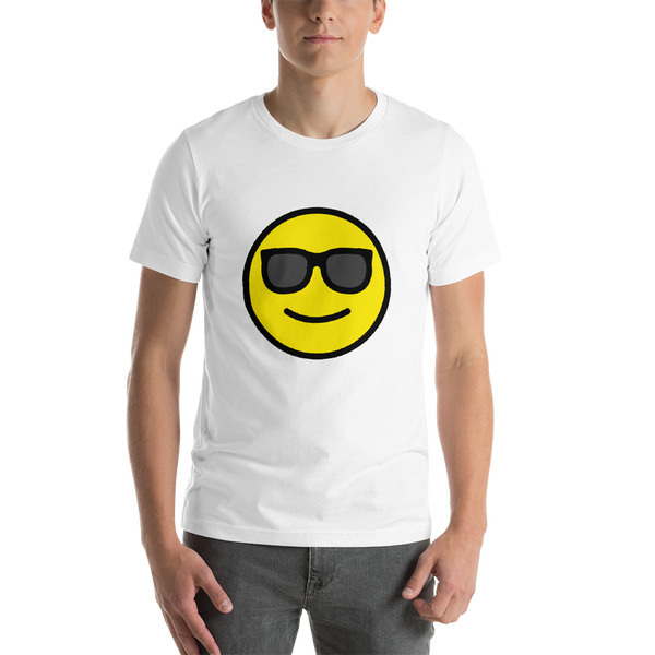 Emoji T-Shirt Store | Smiling Face With Sunglasses emoji t-shirt in White