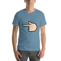 Emoji T-Shirt Store | Backhand Index Pointing Left, Light Skin Tone emoji t-shirt in Blue