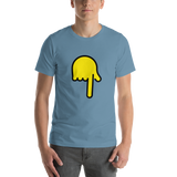 Emoji T-Shirt Store | Backhand Index Pointing Down emoji t-shirt in Blue