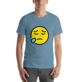 Emoji T-Shirt Store | Sad But Relieved Face emoji t-shirt in Blue