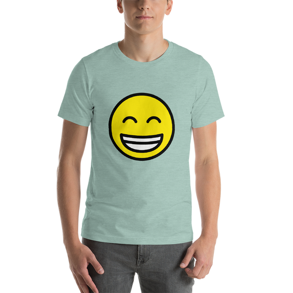 Emoji T-Shirt Store | Beaming Face With Smiling Eyes emoji t-shirt in Green