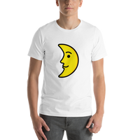 Emoji T-Shirt Store | First Quarter Moon Face emoji t-shirt in White