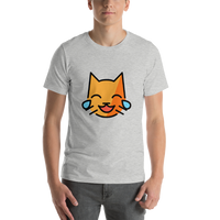Emoji T-Shirt Store | Cat With Tears Of Joy emoji t-shirt in Light gray