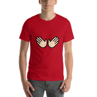 Emoji T-Shirt Store | Open Hands, Light Skin Tone emoji t-shirt in Red