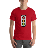 Emoji T-Shirt Store | Vertical Traffic Light emoji t-shirt in Red