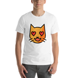 Emoji T-Shirt Store | Smiling Cat With Heart-Eyes emoji t-shirt in White