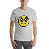 Emoji T-Shirt Store | Pleading Face emoji t-shirt in Light gray
