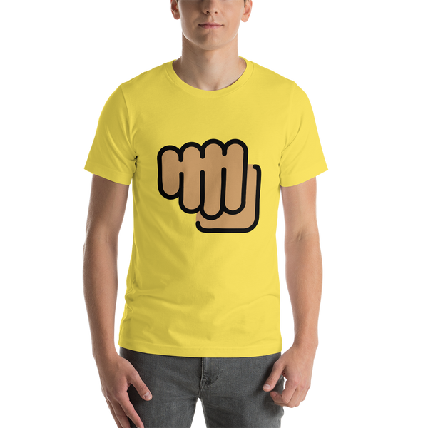 Emoji T-Shirt Store | Oncoming Fist, Medium Skin Tone emoji t-shirt in Yellow