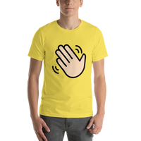 Emoji T-Shirt Store | Waving Hand, Light Skin Tone emoji t-shirt in Yellow
