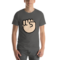 Emoji T-Shirt Store | Raised Fist, Light Skin Tone emoji t-shirt in Dark gray