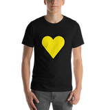 Emoji T-Shirt Store | Yellow Heart emoji t-shirt in Black