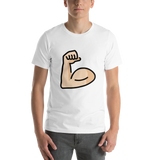 Emoji T-Shirt Store | Flexed Biceps, Light Skin Tone emoji t-shirt in White
