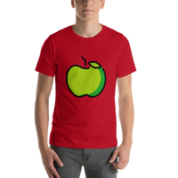 Emoji T-Shirt Store | Green Apple emoji t-shirt in Red