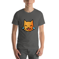 Emoji T-Shirt Store | Cat With Tears Of Joy emoji t-shirt in Dark gray