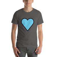 Emoji T-Shirt Store | Blue Heart emoji t-shirt in Dark gray