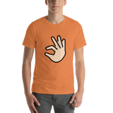 Emoji T-Shirt Store | Pinching Hand, Light Skin Tone emoji t-shirt in Orange