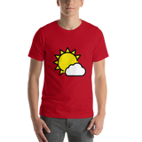 Emoji T-Shirt Store | Sun Behind Small Cloud emoji t-shirt in Red