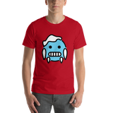 Emoji T-Shirt Store | Cold Face emoji t-shirt in Red