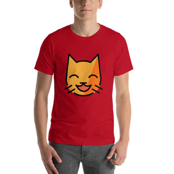 Emoji T-Shirt Store | Grinning Cat With Smiling Eyes emoji t-shirt in Red