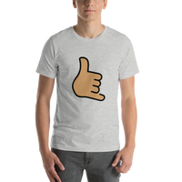 Emoji T-Shirt Store | Call Me Hand, Medium Skin Tone emoji t-shirt in Light gray