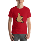 Emoji T-Shirt Store | Call Me Hand, Medium Skin Tone emoji t-shirt in Red