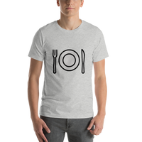 Emoji T-Shirt Store | Fork And Knife With Plate emoji t-shirt in Light gray