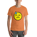 Emoji T-Shirt Store | Downcast Face With Sweat emoji t-shirt in Orange
