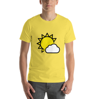 Emoji T-Shirt Store | Sun Behind Small Cloud emoji t-shirt in Yellow