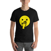 Emoji T-Shirt Store | Face With Hand Over Mouth emoji t-shirt in Black