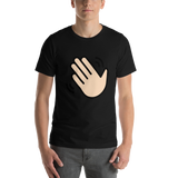 Emoji T-Shirt Store | Waving Hand, Light Skin Tone emoji t-shirt in Black