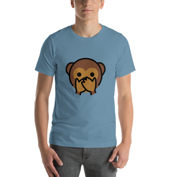 Emoji T-Shirt Store | Speak-No-Evil Monkey emoji t-shirt in Blue
