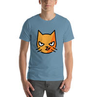 Emoji T-Shirt Store | Cat With Wry Smile emoji t-shirt in Blue